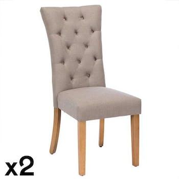 Chaise capitonnée grise (lot de 2) PORTLAND