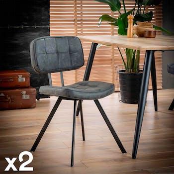 Chaise en tissu noir pieds metal de style industriel