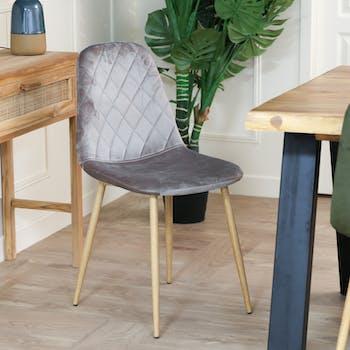 Chaise capitonnée velours gris taupe HAWAI (lot de 2)