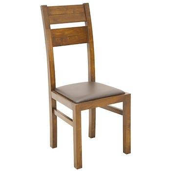 Chaise classique bois et assise marron ATTAN
