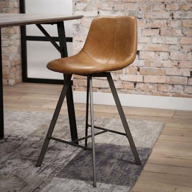 Chaise haute de bar camel style vintage pied metal