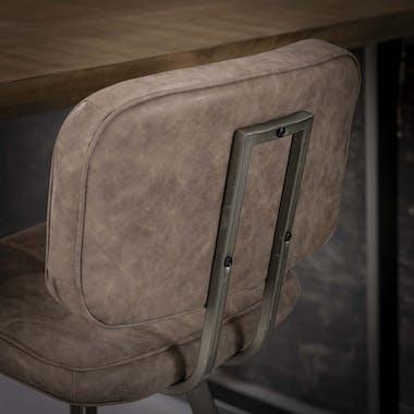 Chaise haute de bar capitonnee marron avec dossier style vintage