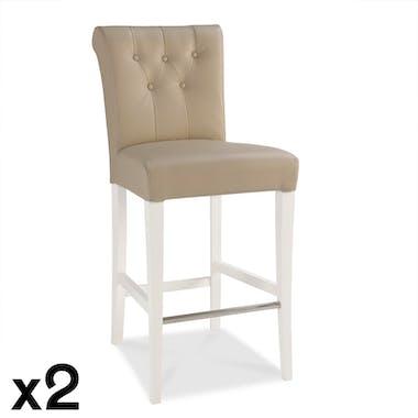 Chaise de bar capitonnée ivoire (lot de 2) PORTSMOUTH