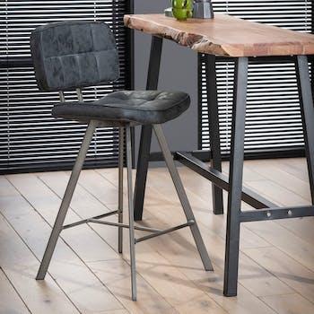 Chaise haute de bar noire style vintage avec assise et dossier capitonnes