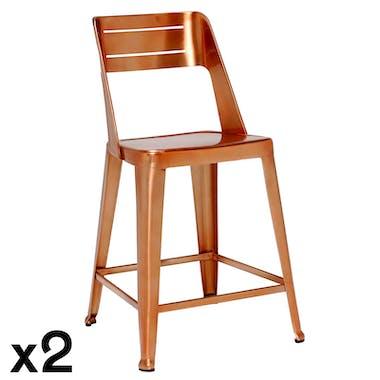 Chaise de bar design cuivre (lot de 2) HELSINKI