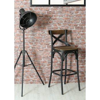 Chaise de bar en bois recyclé et métal vieilli LANDAISE