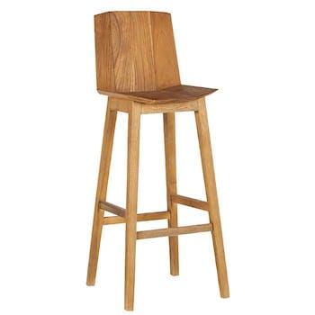 Chaise haute de bar avec dossier bois naturel style exotique