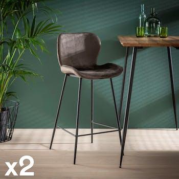 Chaise haute de bar avec assise en velours gris anthracite style contemporain