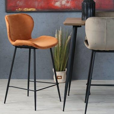 Chaise de bar en velours brique style moderne (lot de 2) MELBOURNE