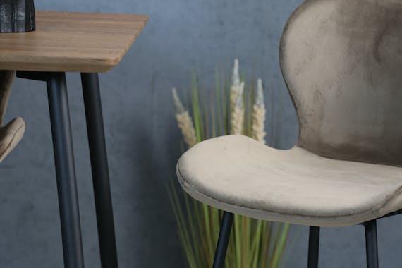 Chaise de bar en velours gris style moderne (lot de 2) MELBOURNE