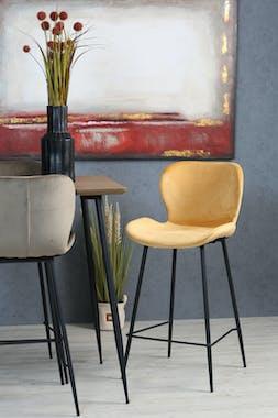 Chaise de bar en velours jaune style moderne (lot de 2) MELBOURNE