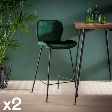 Chaise haute de bar en velours vert contemporain et pied metal