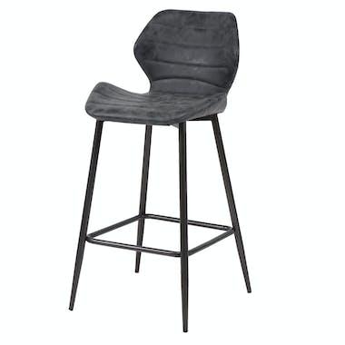 Chaise haute de bar tissu gris pied metal style contemporain