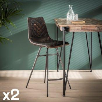 Chaise de bar industrielle piqure losange effet used brun (lot de 2) JAVA