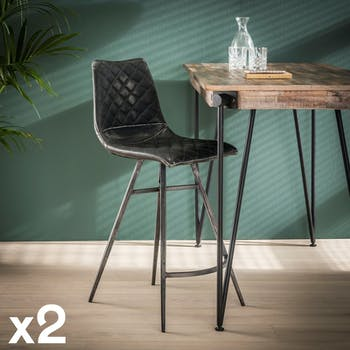 Chaise de bar industrielle piqure losange effet used gris (lot de 2) JAVA