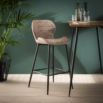 Chaise haute de bar tissu marron pied metal style contemporain