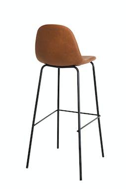 Chaise haute de bar avec dossier en simili marron pied metal style vintage