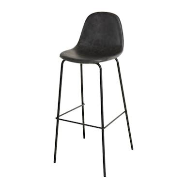Chaise haute de bar en simili noir pied metal style vintage