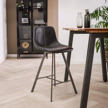 Chaise haute de bar noire style vintage pied metal en etoile