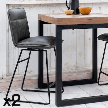 Chaise de bar pivotante gris used OKA (lot de 2)