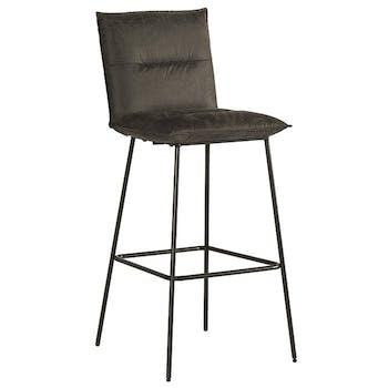Chaise de bar rembourrée grise MALMOE (lot de 2)