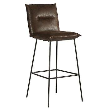 Chaise de bar rembourrée havane MALMOE (lot de 2)