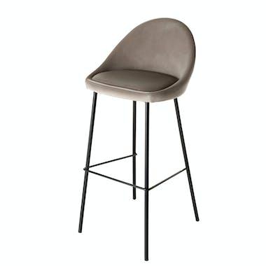 Chaise haute de bar en tissu velours beige style vintage