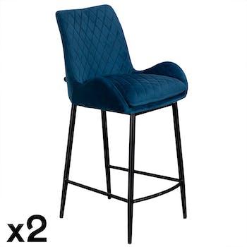 Chaise de bar velours bleu (lot de 2) QUEENSTOWN