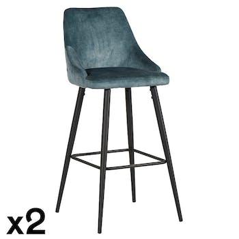 Chaise de bar velours bleu pétrole (lot de 2) MALMOE