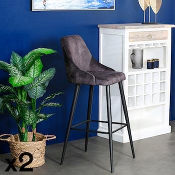 Chaise de bar velours gris anthracite (lot de 2) MALMOE
