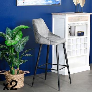 Chaise de bar velours gris (lot de 2) MALMOE