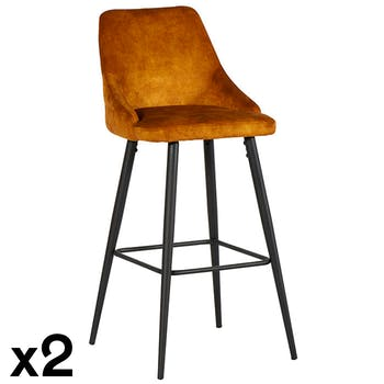 Chaise de bar velours ocre (lot de 2) MALMOE