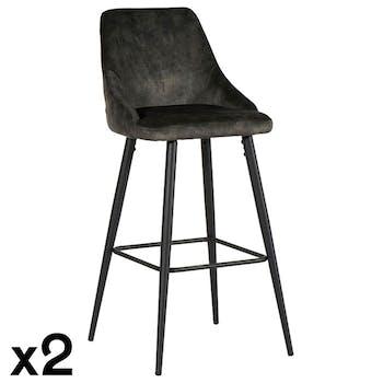 Chaise de bar velours vert kaki (lot de 2) MALMOE