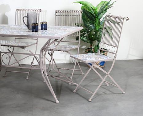 Chaise de jardin carreaux de ciment bleu et taupe GRENADE (lot de 2)