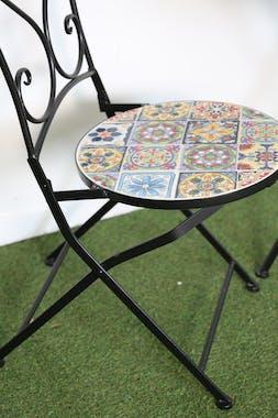 Chaise de jardin carreaux de ciment mix couleurs GRENADE (lot de 2)