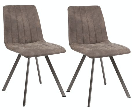 Chaise en tissu beige taupe pieds metal de style contemporain