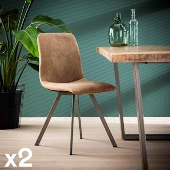 Chaise de salle à manger tissu beige JAVA (lot de 2)