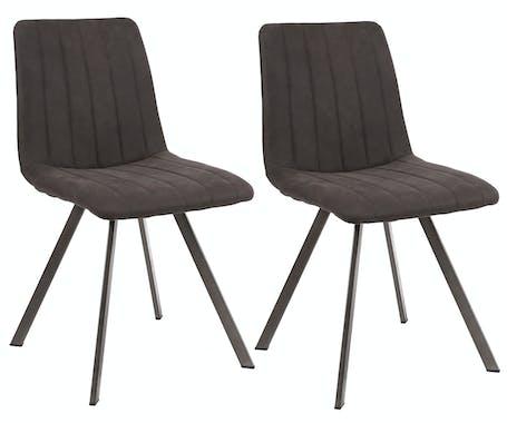 Chaise en tissu gris anthracite pieds metal de style contemporain
