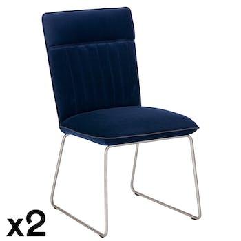 Chaise de salle à manger velours bleu (lot de 2) OKA
