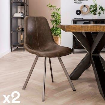 Chaise de table couture apparente taupe pied étoile (lot de 2) HELSINKI