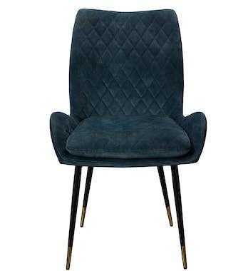 Chaise de table velours bleu lagon (lot de 2) QUEENSTOWN