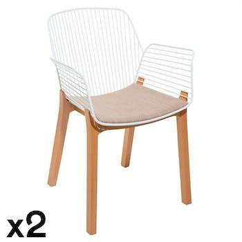 Chaise design blanche (lot de 2) MONTGOMERY