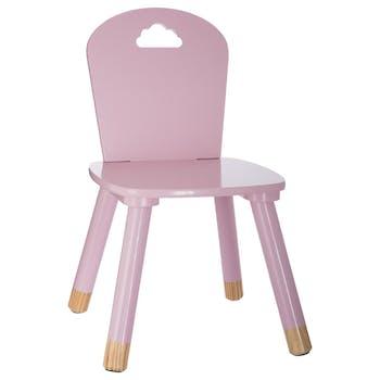Chaise en bois enfant rose