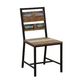 Chaise en Hévéa recyclé coloré et métal 45x51x90cm LOFT COLORS