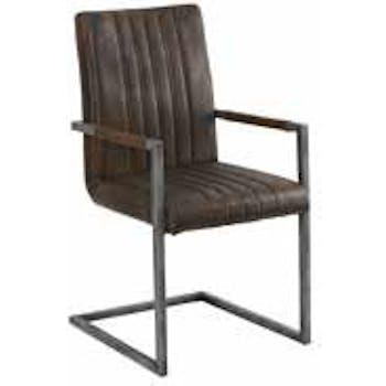 Chaise en PU marron aspect vieilli polishé avec accoudoirs et pieds métal noir 52x62,5x96cm EPIKA