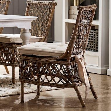 Chaise en rotin motif croisé et coussin 56x94cm ROYAN