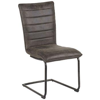 Chaise en tissu microfibres gris et pieds métal noir 46x91x62cm