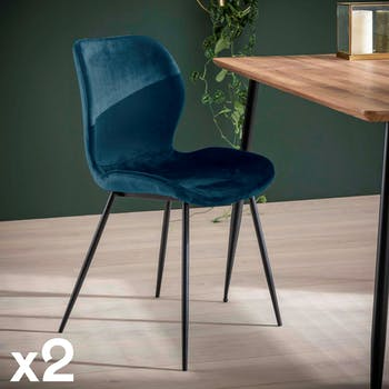Chaise en velours bleu MELBOURNE (lot de 2)
