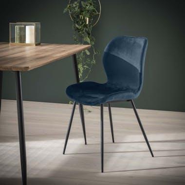 Chaise en velours bleu MELBOURNE (lot de 2)