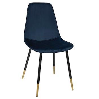 Chaise en velours bleu pieds dorés (lot de 2) GOTEBORG